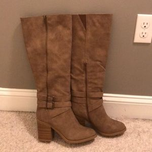 High heeled brown boots